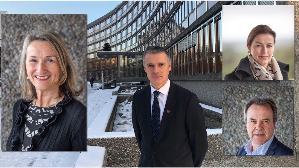 Anne Britt Leifseth er direktør for Skred og vassdrag i NVE (t.v), Kjetil Lund er direktør i NVE (midten),  Anne Vera Skrivarhaug er energidirektør (øverst t.h.) og Rune Fladby er direktør for konsesjoner.