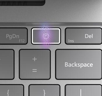 Enkelte Surface Laptop Go-utgaver har fingeravtrykkleser innebygd i på-knappen.