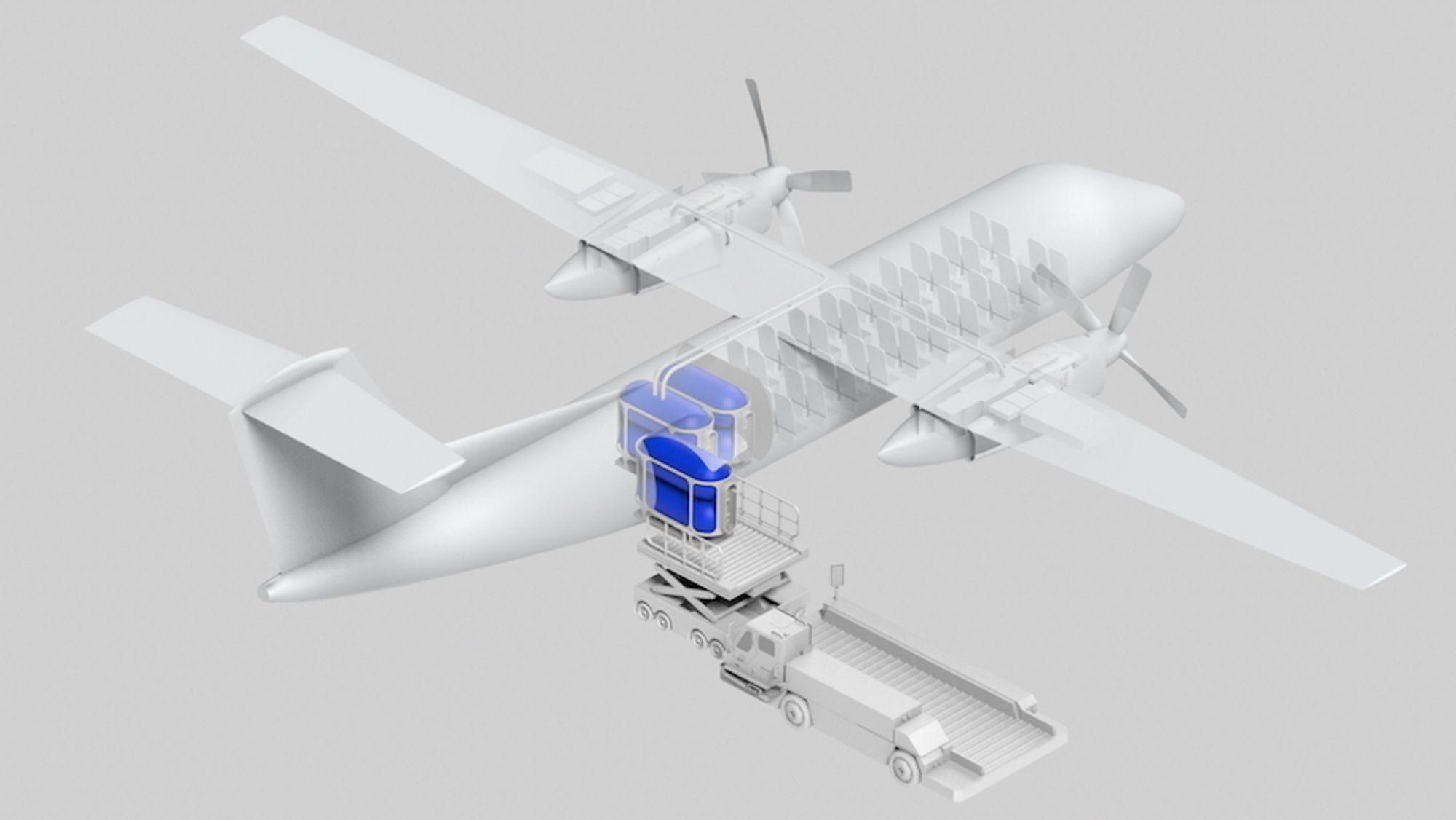 Den ombygde modellen vil imidlertid ha 40 seter, som er 16 færre enn originalversjonen. En brenselcelle brukes til å konvertere hydrogengassen til elektrisitet, og hver vinge får en av Magnixs elektriske motorer, hver med en kapasitet på 2 MW.