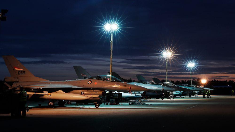F-16 på Rygge flystasjon under øvelsen Falcon Response tidligere i høst.