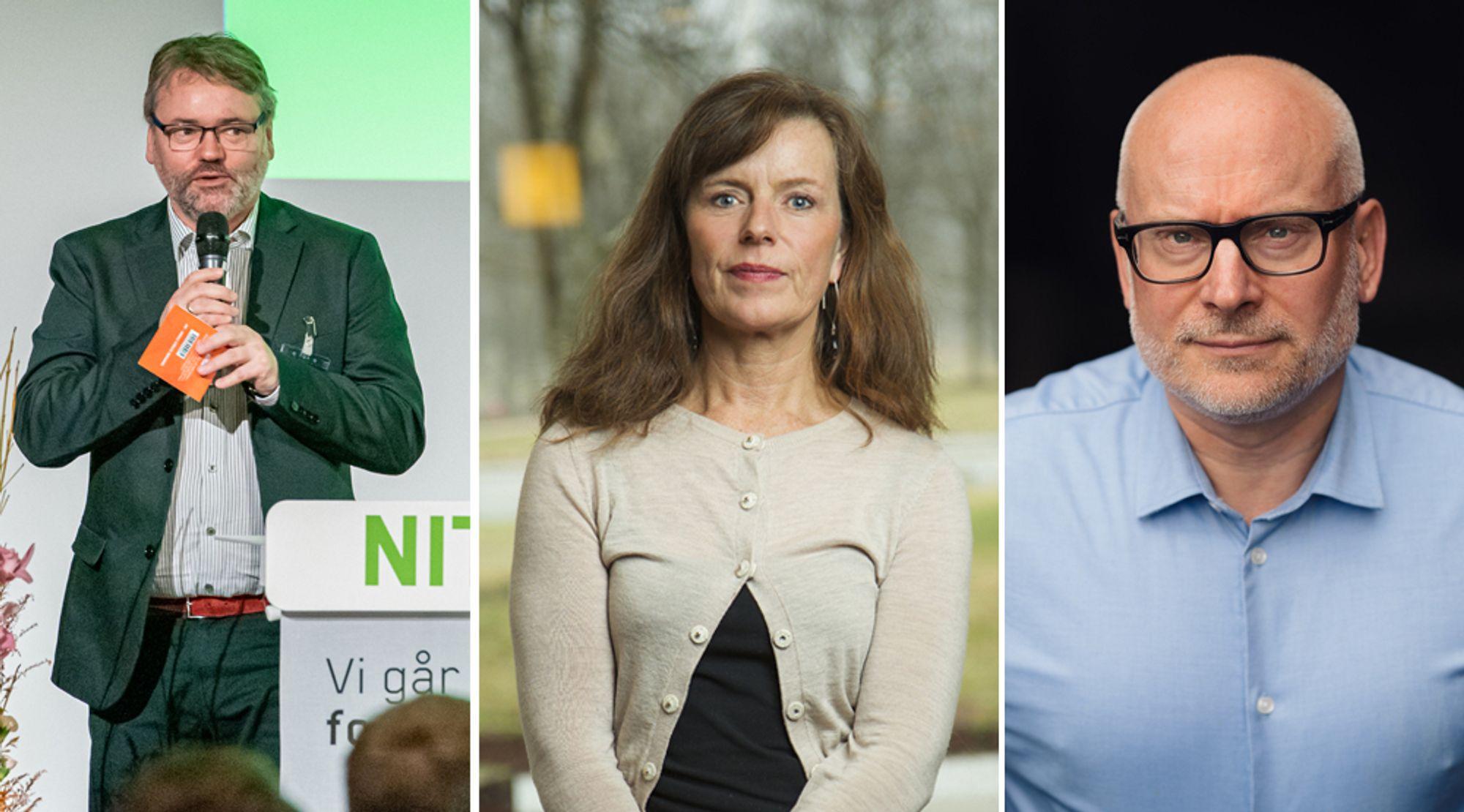 Fra venstre: Forhandlingssjef Knut Aarbakke i Nito, Birgit Jakobsen i Abelia og Erlend Aarsand, nyslått leder av Teknas arbeidslivsavdeling.
