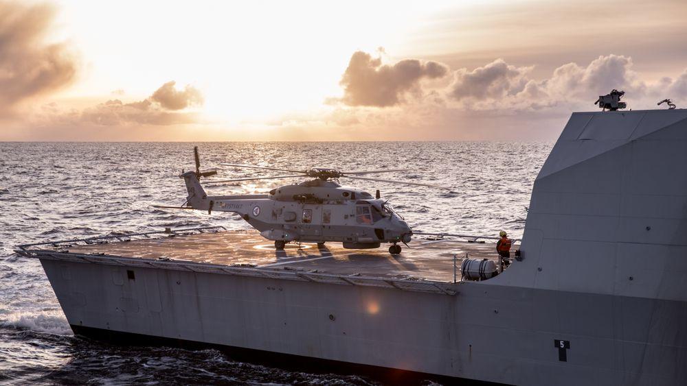 NH90 på dekket på fregatten KNM Thor Heyerdahl i forbindelse med øvelse Flotex 2017.