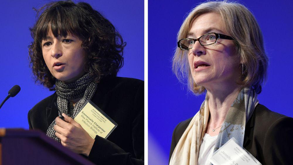Franske Emmanuelle Charpentier (t.v.) er tildelt årets nobelpris i kjemi, sammen med amerikanske Jennifer A. Doudna (t.h.)