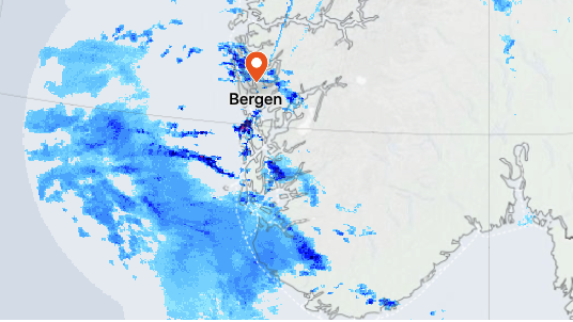 Skjermbilde fra værvarsel fra Yr levert av Meteorologisk institutt og NRK.
