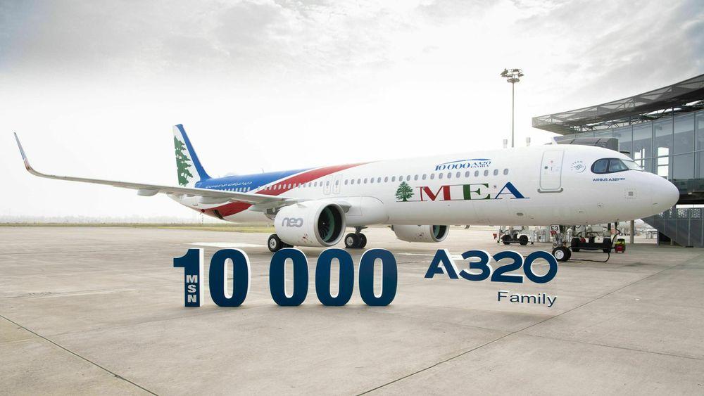 A321 Neo med serienummer (MSN) 10.000 overleveres fra Airbus til Middle East Airlines i Toulouse 9. oktober 2020.