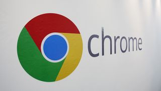Google Chrome-logo på en vegg i New York i 2013.