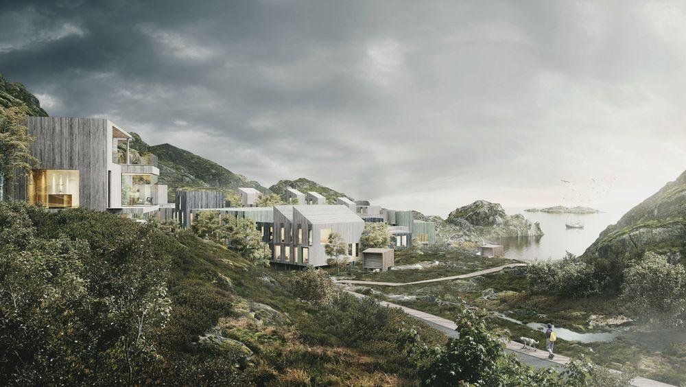 Her i Tjeldbergvika mellom Svolvær og Kabelvåg planlegger Clemens Eiendom å bygge 213 boliger på 500 mål tomt som har tilhørt Opplysningsvesenets Fond i regi av Den norske kirke.