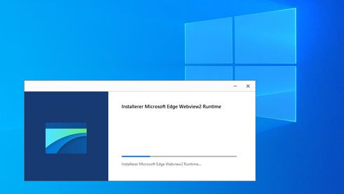 Installasjon av Microsoft Edge WebView2 Runtime i Windows 10.