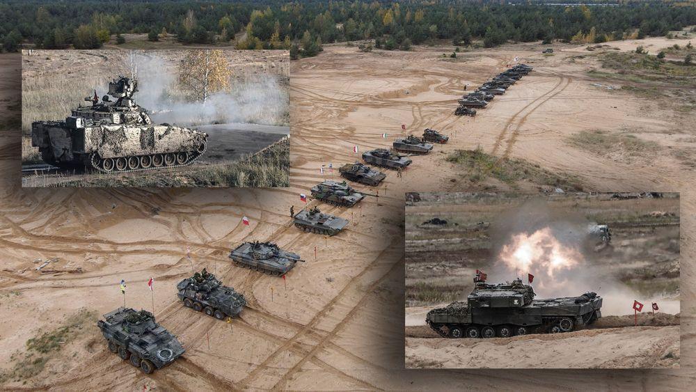 Norske CV90 (t.v) og Leo 2A4 (t.h) gikk til topps i Nato-konkurransen Iron Spear 2020.