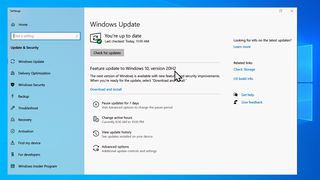 Oppdatering til Windows 10, versjon 20H2, fra Windows Update.