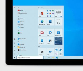 Flisene på startmenyen i Windows 10, versjon 20H2, kommer med redesignede ikoner og delvis transparent bakgrunn.
