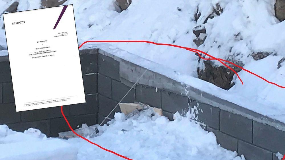 Innberetningen fra bostyret innbefatter også varsel om søksmål fra Smedsrud Grendelag, som blant annet har innsigelser mot murverket til MT-Entreprenør (se egen sak).
