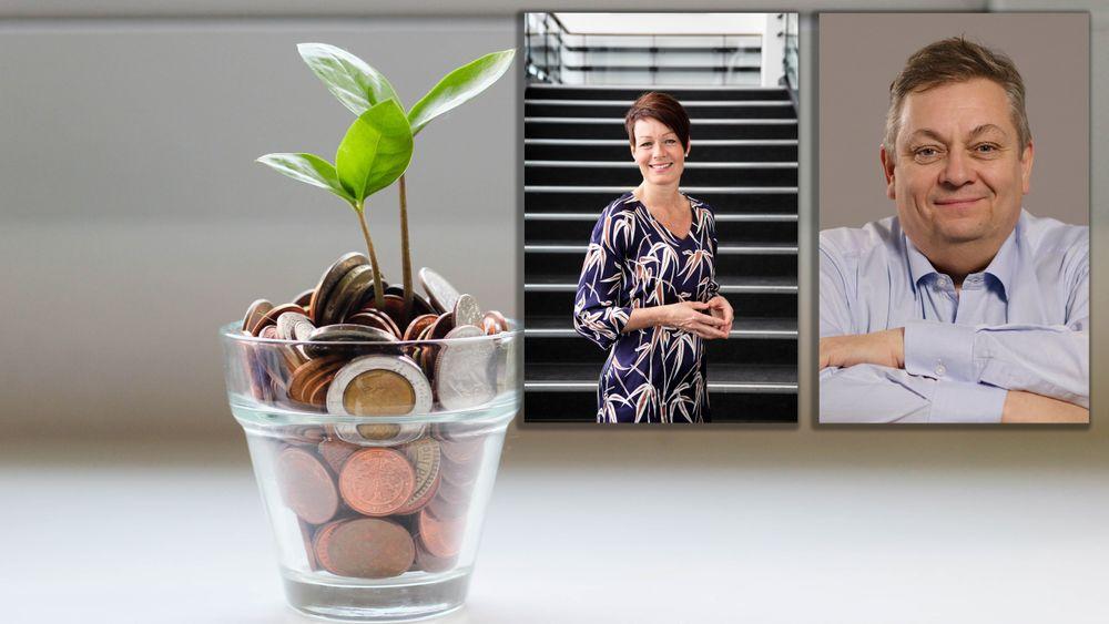 Generalsekretær Line Henriette Holten i Tekna og president Trond Markussen i Nito lanserer nå egne pensjonsavtaler for sine medlemmer.