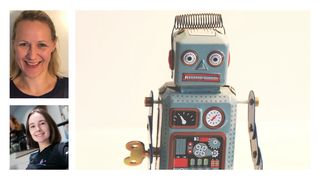 Collage - Lyngstad, Wilson og en retro robot.