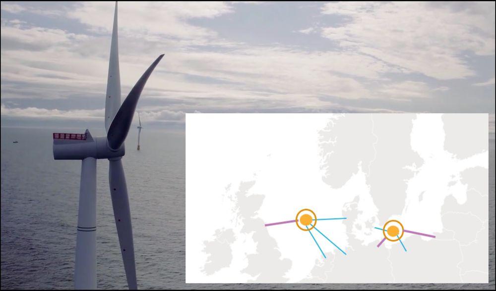 En havvind-hub i Nordsjøen kan få tilknytning til Tyskland, Nederland, Danmark og Storbritannia. En tilsvarende hub i Østersjøen kan sende strøm til Danmark, Polen, Tyskland og Litauen.