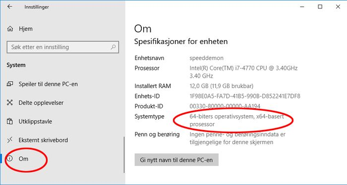 Visningen av systemtype i Windows 10.