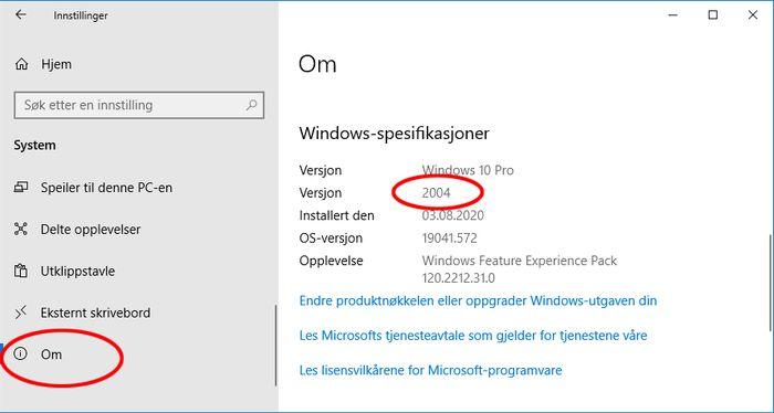 Visning av hvilken versjon av Windows 10 som er installert.
