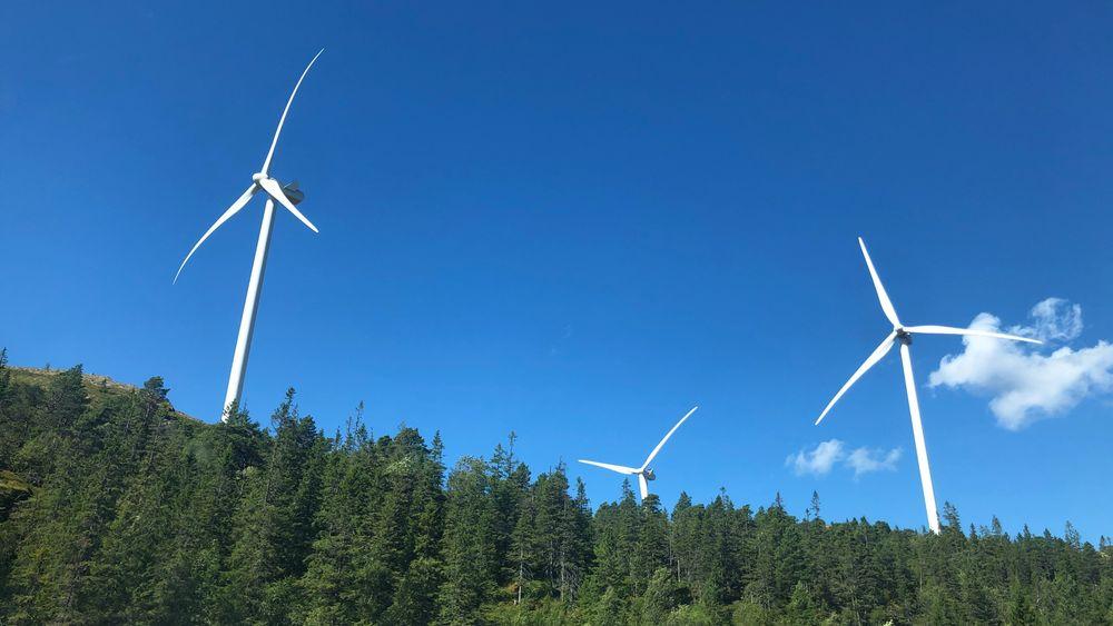 Vindkraft hadde i fjor større omsetning enn vannkraft. Men vannkraften gir fortsatt flest arbeidsplasser. Bildet er fra Skomakerfjellet vindkraftverk i Trøndelag.