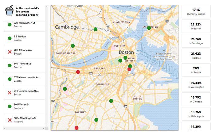 Mcbroken, den webbaserte tjenesten som viser oversikt over amerikanske McDonald's-restauranter og statusen for deres iskremmaskiner.