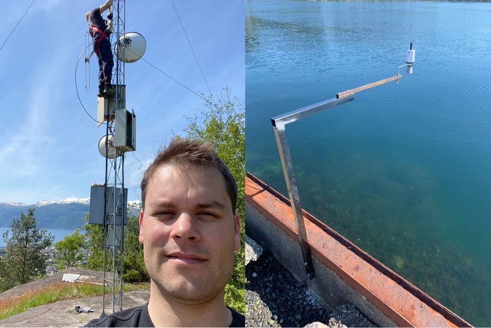 Brannmann Stein Erik Gulbrandsen har ikke høydeskrekk, og monterte en LoRaWAN Gateway i eksisterende radiomast for Fredrik Sudmann. Sensorene ble montert på broene som krysser Nordelva og Storelva.