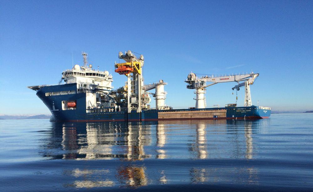 Konstruksjonsfartøyet North Sea Giant er blant fartøyene som har fått støtte til å installere batteri.