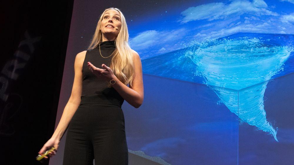 Marta Trodahl kom på tredjeplass da hun fortalte om virvlende stormer i havet under Forsker Grand Prix-finalen i Oslo.
