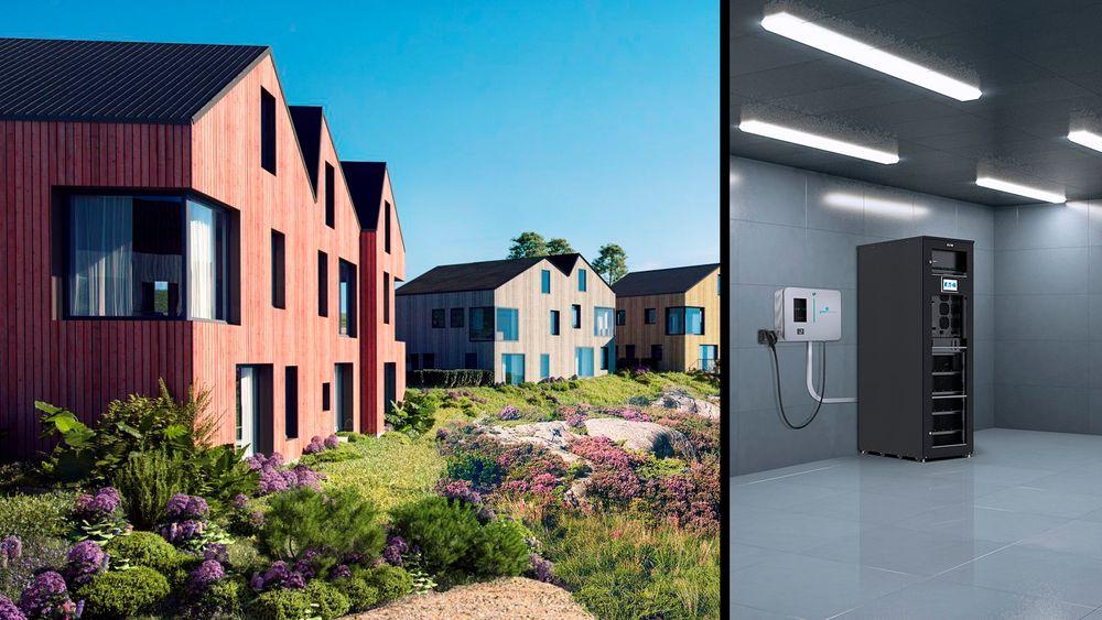 Mellom boligene skal det settes opp et eget teknisk bygg for batterianlegget.
