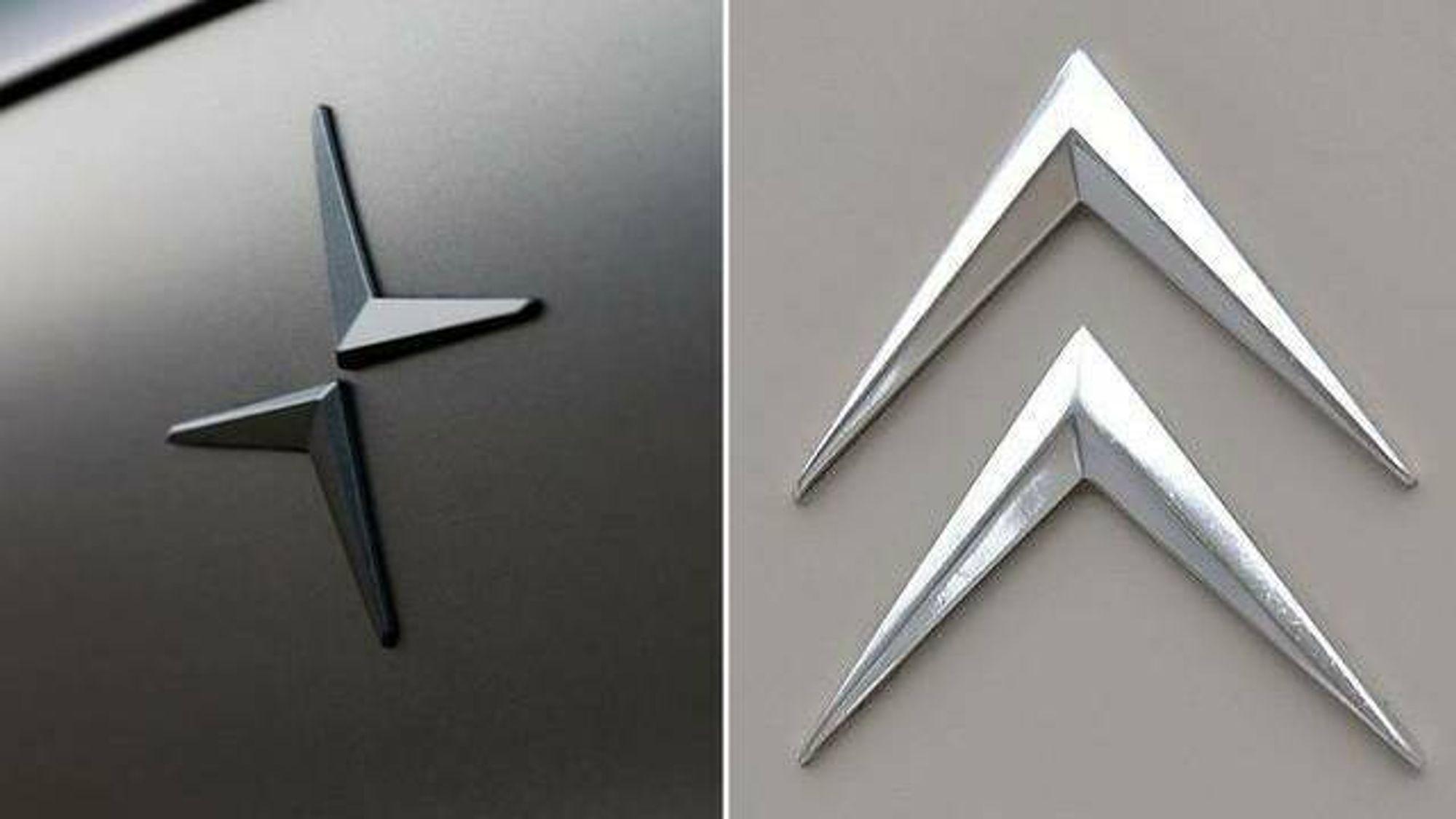 Polestars logo til venstre, Citroëns til høyre.