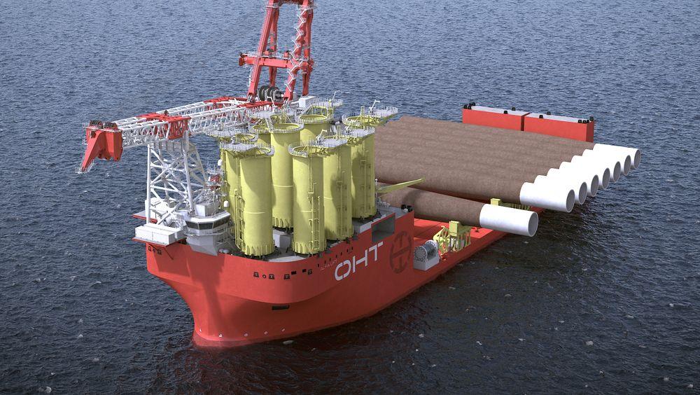 Offshore Heavy Transports Alfa Lift får hovedkran på 3000 tonn og 10 000 kvadratmeter «smartdekk» som kan ta 16 ekstra store mono-fundamenter eller ti understell på hver reise