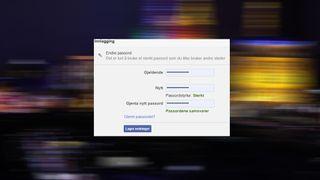 Montasje med dialogen for endring av passord i Facebook.
