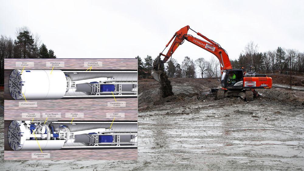 På Huseby i Oslo skal en av to store tunnelboremaskiner, som skal drive den nye vanntunnelen, starte.