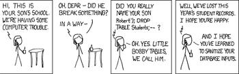 Tegneseriestripe med sønn som heter «Robert') DROP TABLE Students;--».