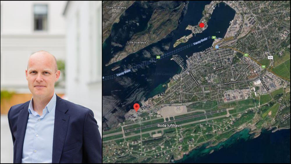 MortenSolberg Watle, daglig leder i GreenH, har sett seg ut ei tomt like ved Bodø Lufthavn. Sammen med Linde vil de levere hydrogen til Vestfjordsambandet (Værøy-Bodø på kartet) og til sildoljefabrikken Pelagia (rød prikk nord for sentrum).