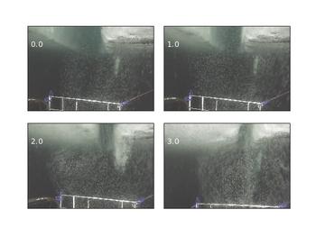 Bildene viser hvordan turbulens oppstår når isflaket nærmer seg kanten.