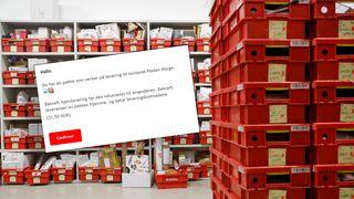 Fulle hyller og stabler med Posten-plastbakker med pakker, og eksempel på en phishing-epost.