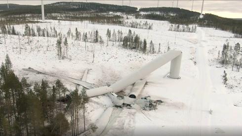 230 meter høy vindmølle kollapset i nord-Sverige