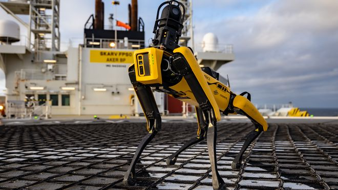 Den firbeinte robothunden har hatt sin første arbeidsuke offshore: Styres fra hjemmekontor på land