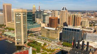 Sentrumsområdet av den amerikanske storbyen Baltimore.