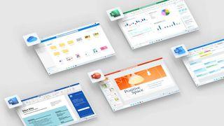 Et utvalg av produktene i Microsoft 365.