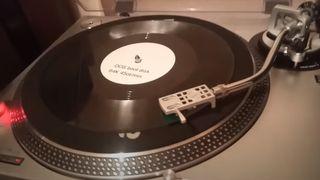 Vinylplate med operativsystemet FreeDOS.