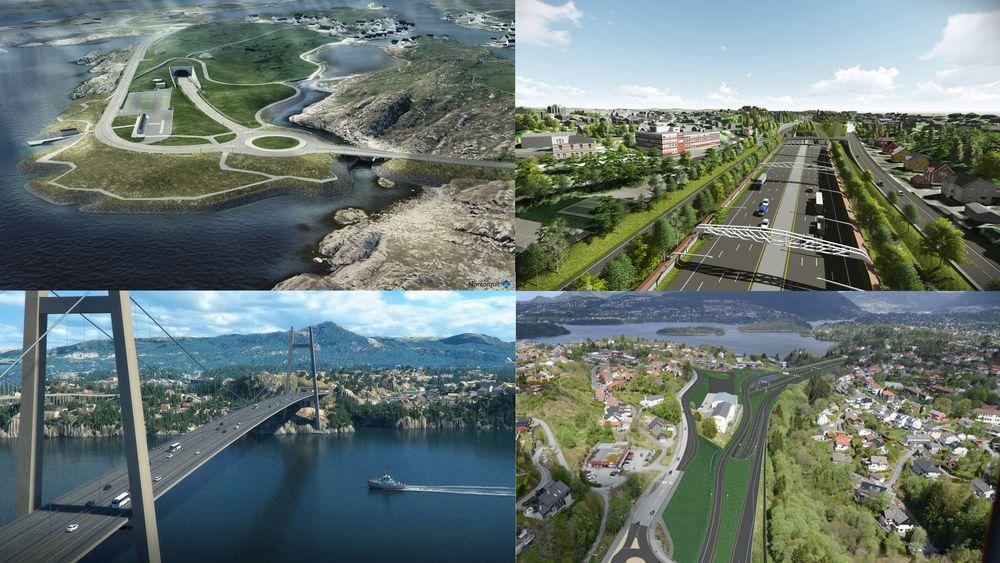 Rogfast, E18 mellom Lysaker og Ramstadsletta, Sotrasambandet og E39 mellom Svegatjørn og Rådal er de fire største veiprosjektene i Norge for tiden.
