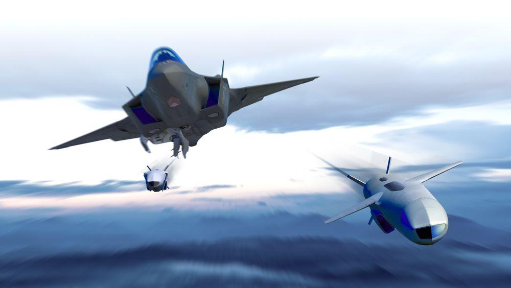 Illustrasjon av JSM som slippes fra buken på en F-35A.