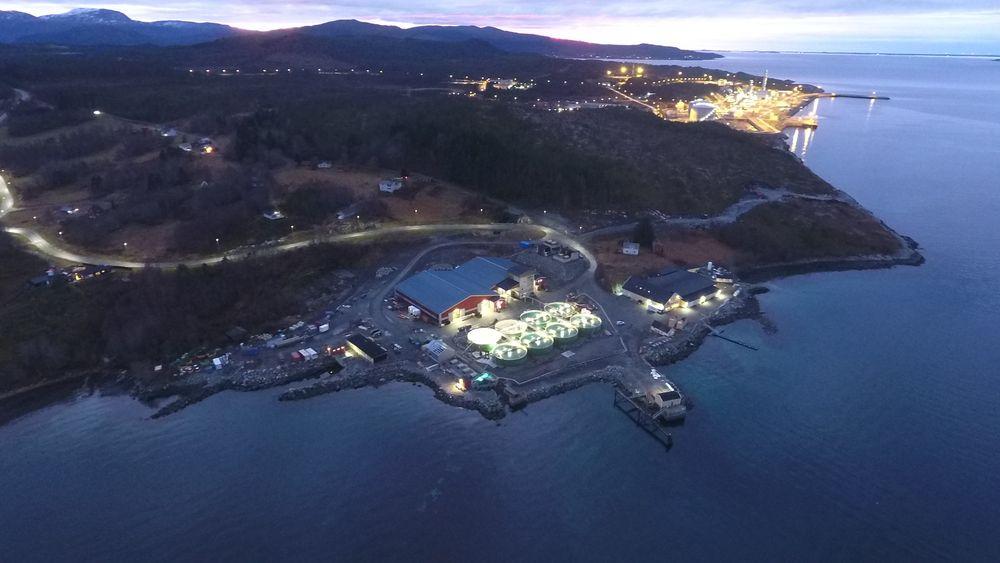 Det røde bygget er Lumarines berggyltanlegg, mens lysene i bakgrunnen er Equinors metanolfabrikk. Salfjords tomt ligger mellom disse.