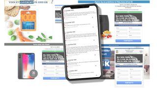 Eksempler på konkurranser, og en mobilskjerm med eksempler på kommentarer fra brukere.