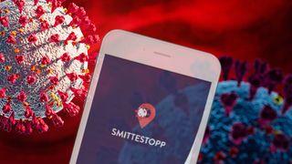 Koronavirus og smittestopp-appen på mobil.