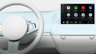 Illustrasjon av Android Auto i bruk i bilen.