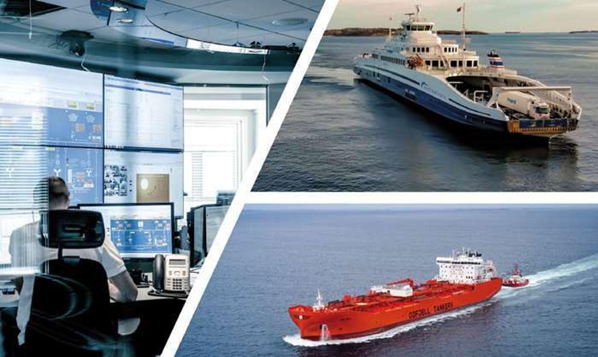 Forsidekollasje på Stortingsmelding 10 (2020-2021) - «Grønnere og smartere – morgendagens maritime næring»