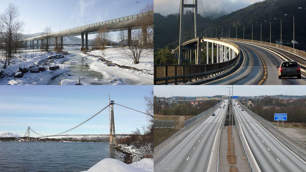 Drammensbrua, Nordhordalandsbrua, Hålogalandsbrua og Sandesund bru er landets fire lengste bruer.