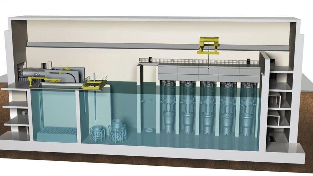 Interessante nye kjernekraftteknologier kan skimtes i horisonten, men dagens «state of the art»-kraftverk er mer enn gode nok. Grafikken viser skisse for et lite, modulært kjernekraftverk.