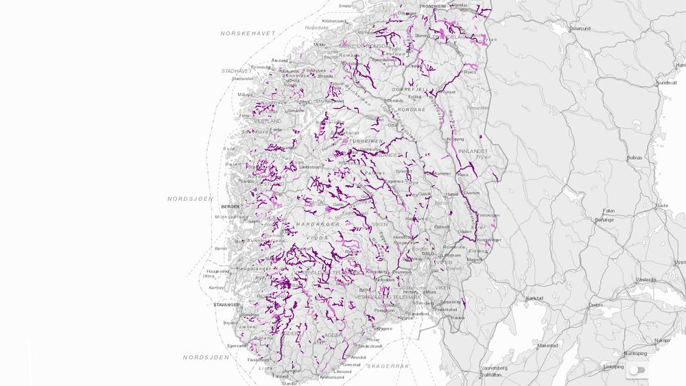 Over 5.000 vannforekomster i Norge er påvirket av vannkraft. Om lag 1.500 har fått unntak fra miljømål i EUs vanndirektiv.Skjermdump: Vann-nett